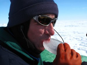 Chris sampling sea ice