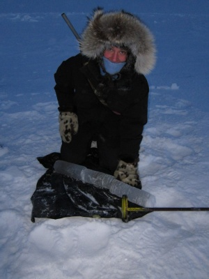 Kaiti with New Year's sea ice core